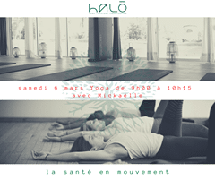 May be an image of one or more people and text that says 'halo YOGA E PILATES THERAPEUTIC samedi 6 mars Yoga de 9h00 avec Mickaelle à 10h15 la santé en mouvement'